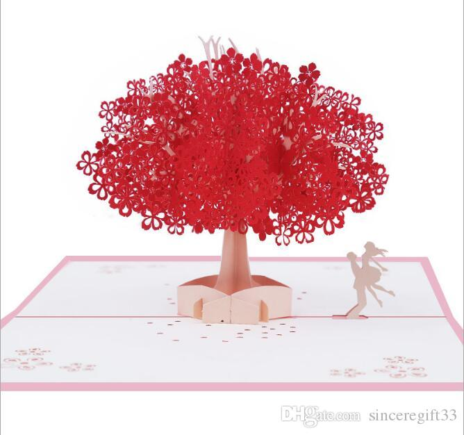 Universal festival 3D paper carving red romantic cherry blossom handmade greeting card cherry tree Valentine's Day gift blessing card