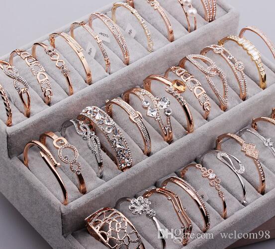 10pcs / lot ميكس نمط أساور الذهب مطلي الكريستال حجر الراين ل DIY الأزياء والمجوهرات Gfit الحرة الشحن CR16