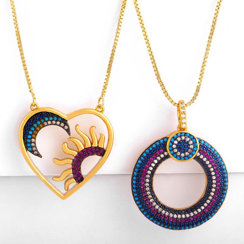 European Fashion Schmuck Gothic Schmuckset Mondsun Herz Anhänger Halskette Zirkonia Hohle Kreis mit Halskette für Frauen