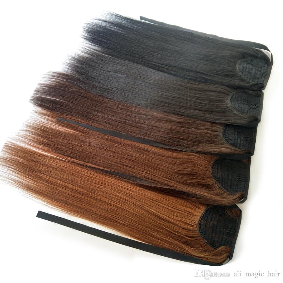 """Зажим в волосах хвостик Medium Brown 100g Straight человека Деве волос Binding конский хвост клип в наращивание волос для женщин 14"""" до 26inches"""