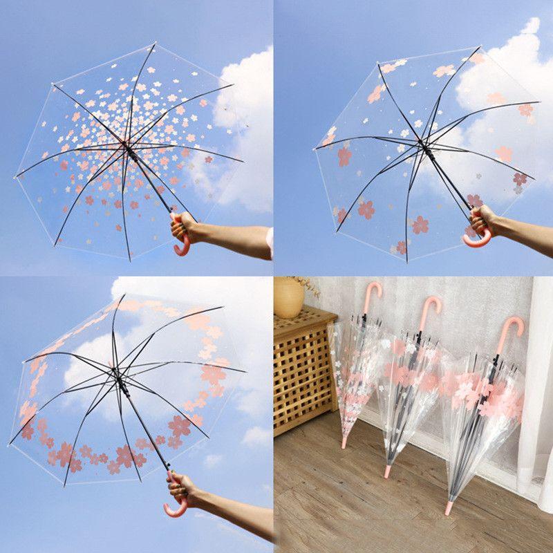 Прозрачные зонты ветрозащитный Длинные ручки зонтика Четкие цветок Letters Printed Зонт ПЭО дождя Зонтики для девочек
