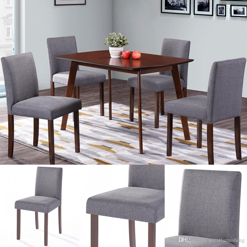 2019 Dining Chairs Fabric Kitchen Parson Chair Urban Style Dining Side  Chair With Solid Wood Legs Set Of 4 Grey From Greatfurnishing, $100.51 | ...