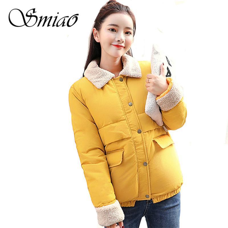 Smiao 2018 года Новая весна Короткая куртка женщин пальто способа проложенный хлопка куртки Outwear высокого качества Теплое Parka Женская одежда XXL