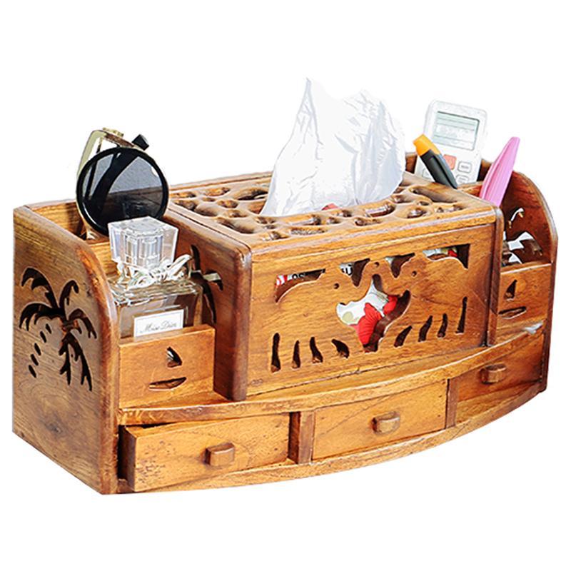 타이어 수입 하이 엔드 다기능 단단한 나무 티슈 박스 거실 침실 새 중국어 레트로 나무 판지