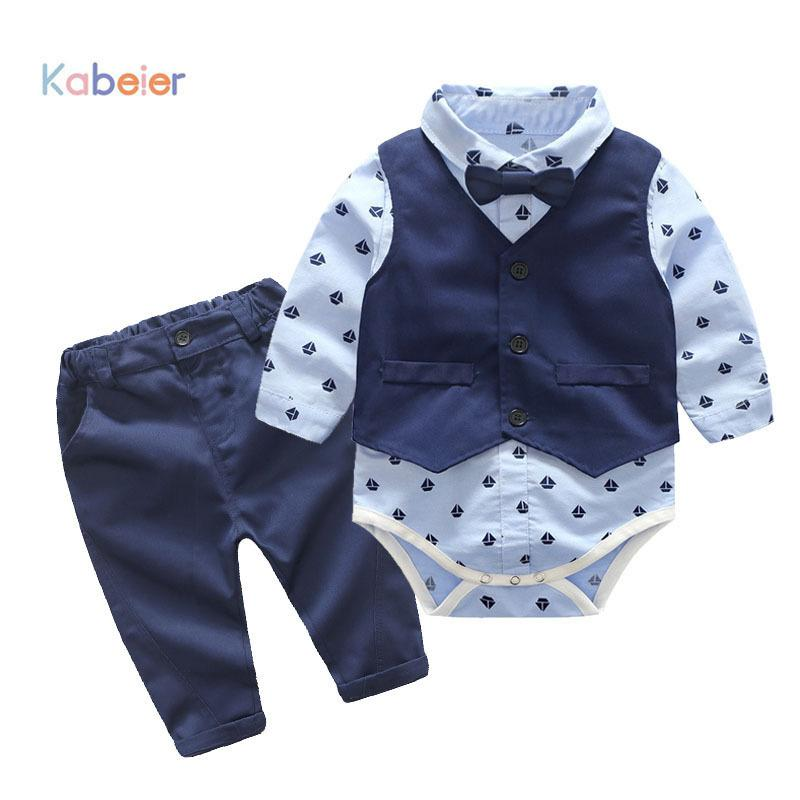 Baby Boys Party Clothes Suits Infant Newborn Sets Dress Kids Vest+romper+pants 3pcs Autumn Spring Children Suits Outfit 3-24m J190521