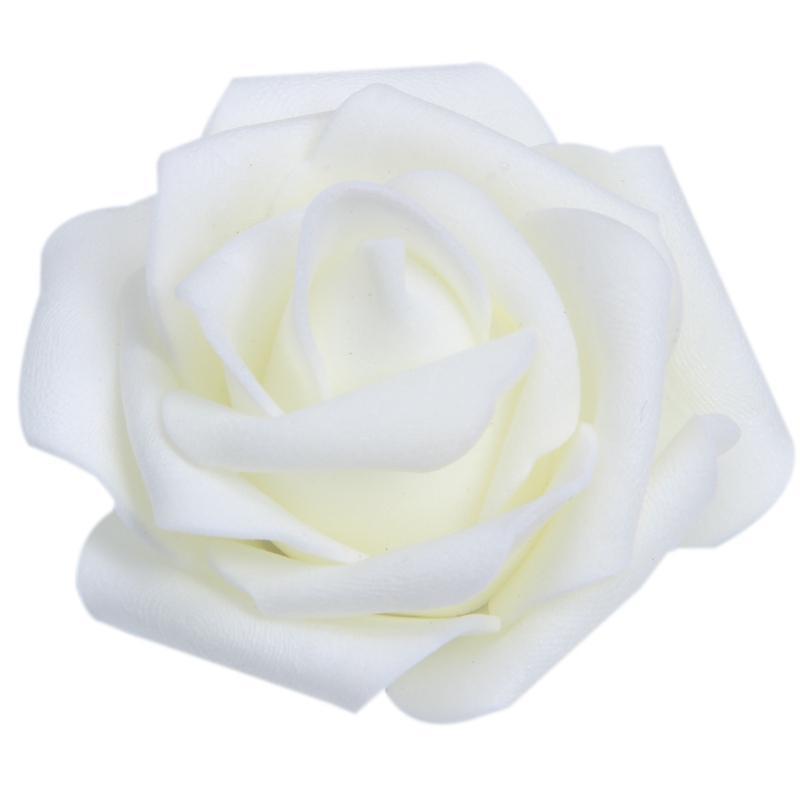 Высокое качество 100pcs / мешок 6см пены Rose Heads Искусственный цветок Heads Свадебные украшения (молочно-белый)