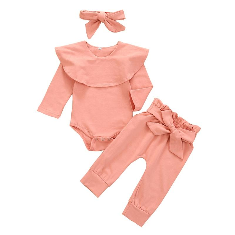 3Pcs Baby Girl Clothes Fashion Newborn Infant Set Cotton T-shirt Pants Headband Fall Toddler Outfits Girls Clothing Suit