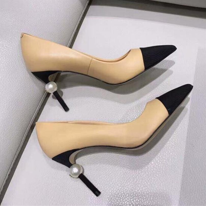 Con Scatola 2019 Designer C Donna Casual Pompe Casual Party Shoes Fashion Brand Donne con punta Abito in pelle con tacchi alti 35-40
