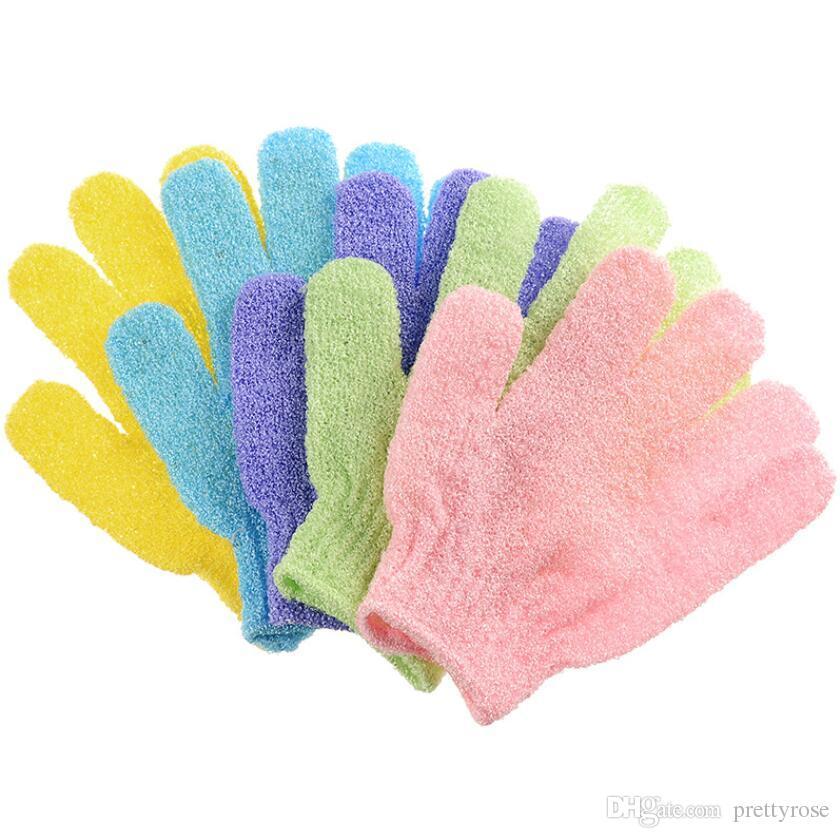 Color caramelo Baño de ducha Guantes Exfoliante Lavado Piel Spa Masaje Scrub Body Scrubber Guante regalo Envío Gratis