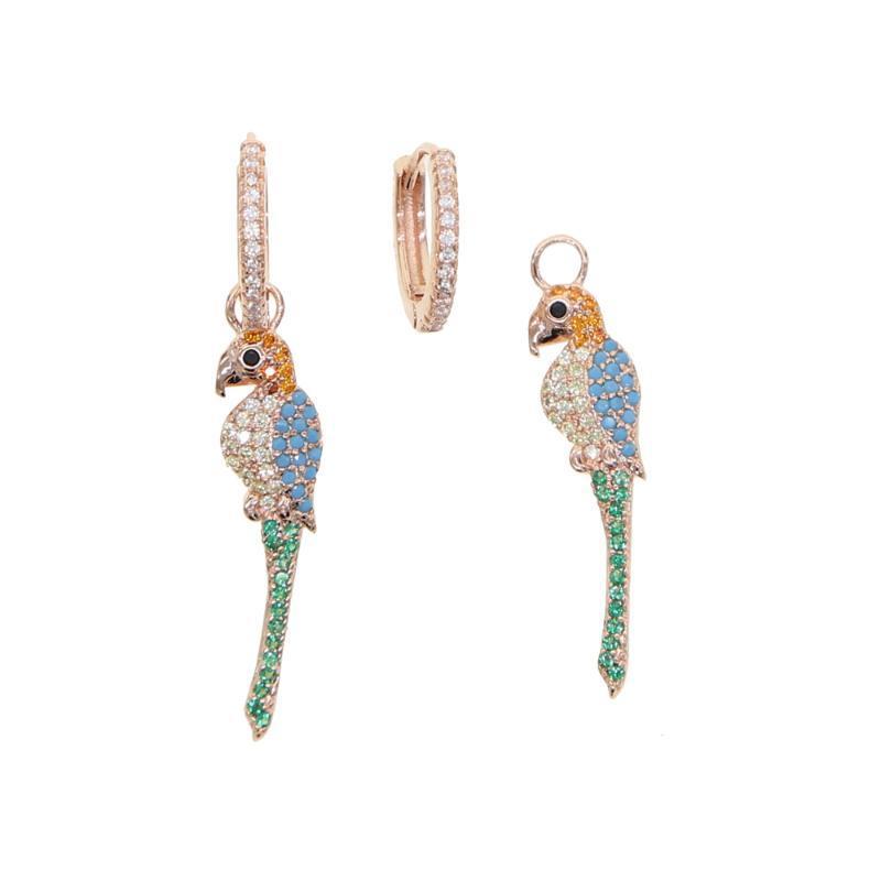 2020 novo chegou brilhante animais balançar papagaio pássaro bonito ouro rosa CZ colorido longa queda brincos moda jóias lovely