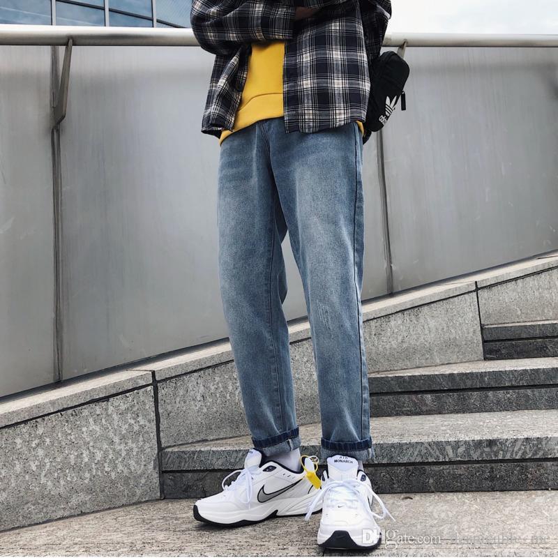 Autunno Nuovi Jeans Uomo Slim Moda Solido Colore Pantaloni Denim Uomo Trend Wild Streetwear Hip Hop Abbigliamento Maschile Cowboy Pantaloni M-2XL