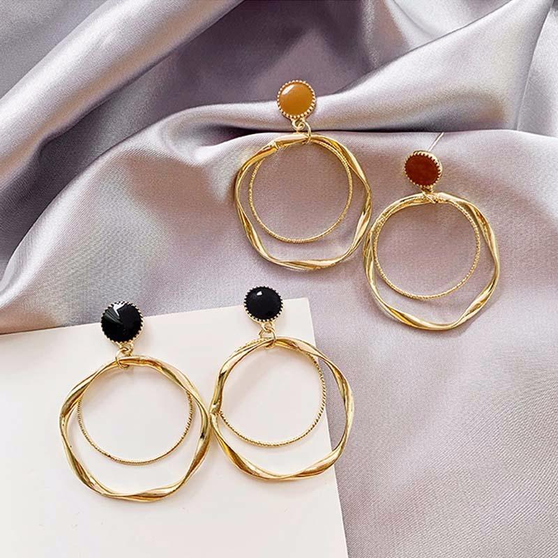De moda de cadena hueco del aro pendientes del temperamento del diseño simple del círculo de los pendientes de la joyería del metal Declaración geométrica Moda