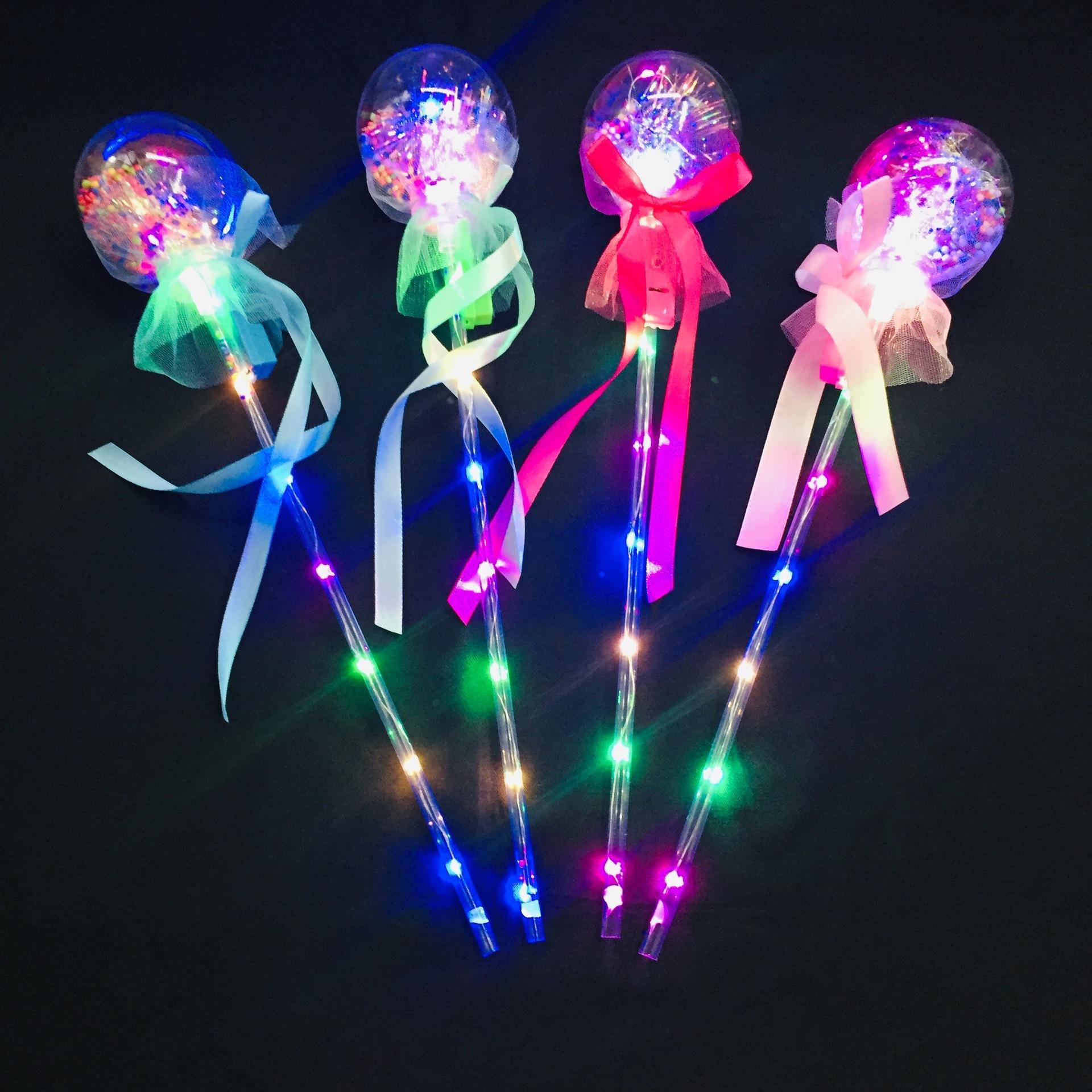 LED 조명 투명한 빛나는 웨이브 볼 마술 지팡이 스타 공 LED 플래시 요정 바 스탠드 야간 시장 뜨거운 판매 요정 조명