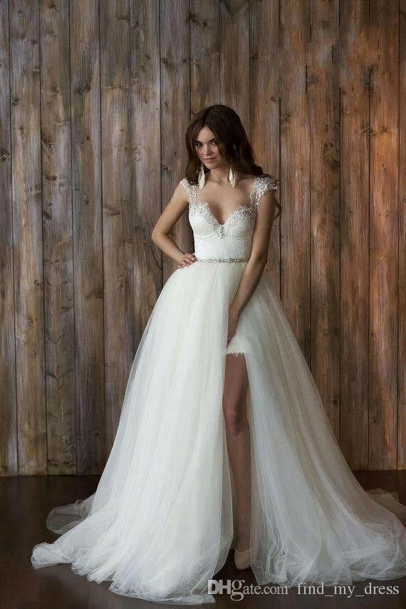 2019 Short Beaded Sash Crystal Cap Sleeve Backless Bohemian Detachable Train Skirt Lace Princess Sheath Wedding Dress Long Bridal Gowns