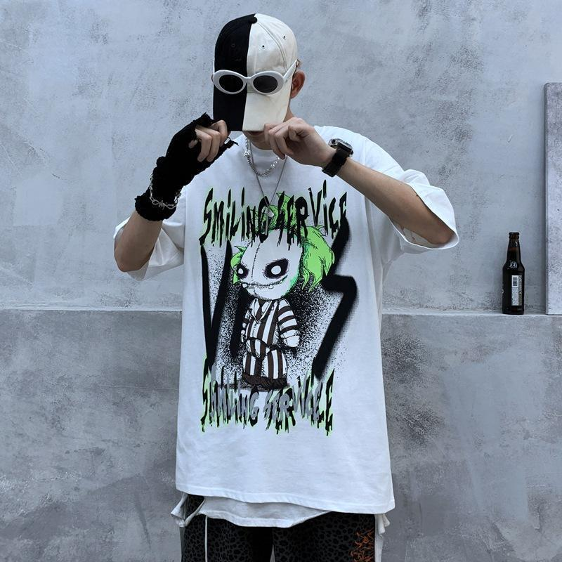 kurze Ärmel hohe Straße Hip-Hop-Straße Tide Marke Trauer Clown Puppe Graffiti bedrucktes T-Shirt Männer - Linienkraft Wind lose Kurzhülse