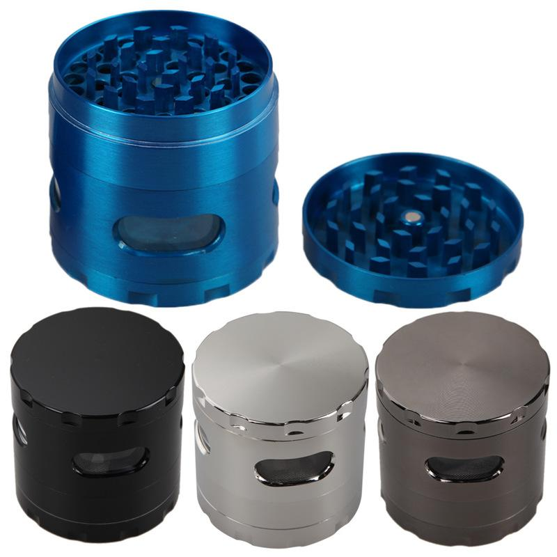 55mm Molinillos de hierba 4 capas de aleación de zinc de la manivela de tabaco Molinillos Molinillos de metal para Hierbas con la ventana de 4 colores