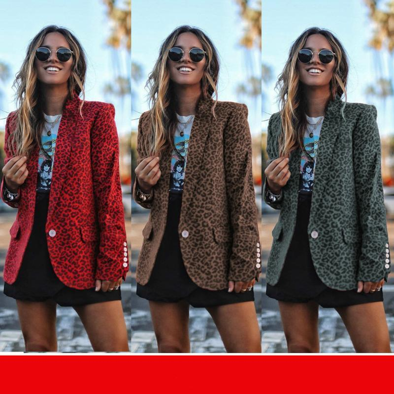 Fashion Button Coat 2020 Women Spring Autumn Leopard Blazers Womens Tops and Jacket Streetwear Female Clothes Outwear