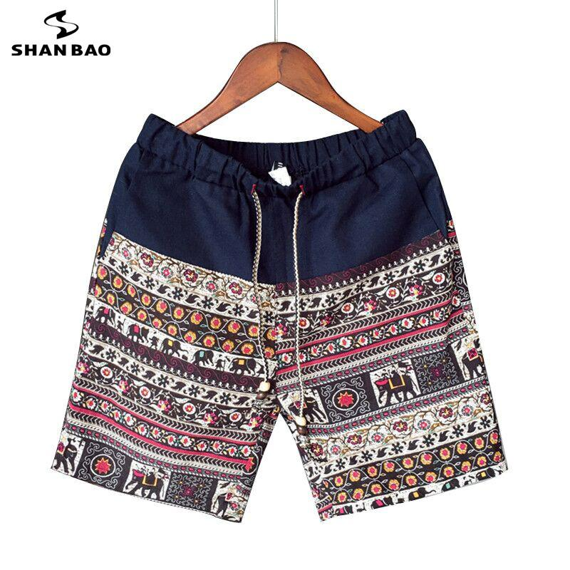 Men and women models leisure shorts fashion cotton and linen stitching 2019 summer brand beaded flowers printed beach shorts Y200108