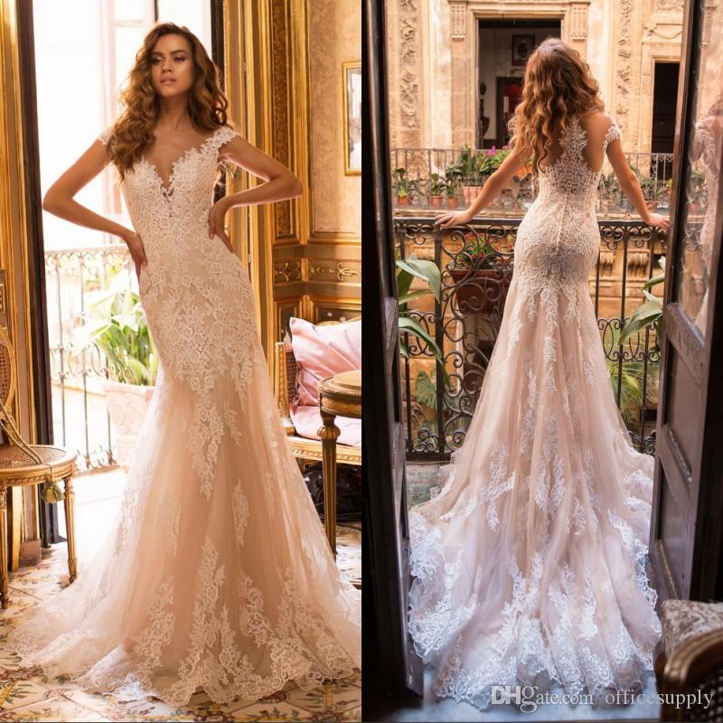 Vintage Denizkızı Gelinlik Artı boyutu Gelinlik V Yaka Dantel Aplike Custom Made Gelinlik elbise de mariée
