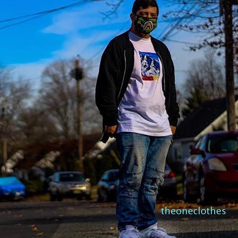 20 FW THENF X BOX LOGO Mountain TEE Hip Hop Comics Stampato fredda del pattino T-shirt in cotone Donne Uomini casuali del fumetto T-shirt