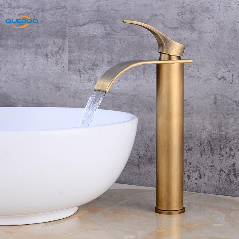 Bath Basin Faucet Brass Antique Bronze Finished Faucet Sink Mixer Tap Vanity Hot Cold Water Bathroom Faucets