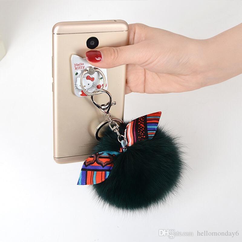 Cute Faux Rabbit Fur Ball PomPom Cell Phone Handbag Pendant Key Chain Key Ring