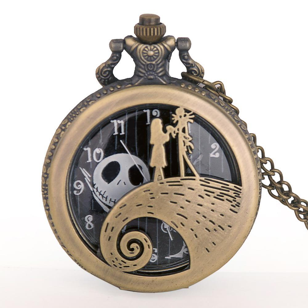 Collar pendiente del reloj de la pesadilla antes de regalos de cuarzo reloj de bolsillo antiguo de Navidad Negro Acero Hombres Mujeres reloj reloj de bolsillo