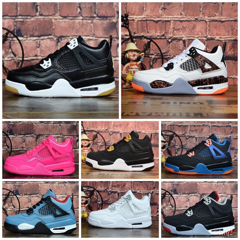 Me 4 zapatos de baloncesto de los muchachos jumpman 4s Gum Gato Negro Denim láser j4 niños zapatillas de deporte de alta calidad