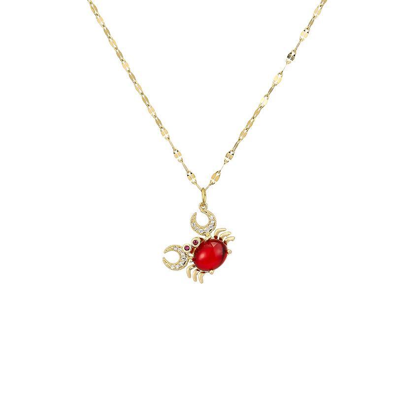 moda jóias para presente de alta qualidade caranguejo pendente linda com aço inoxidável pedra vermelha sem desbotamento da cor