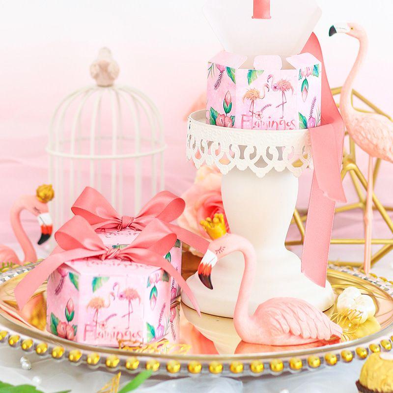 Şerit ile 100 adet Pembe Flamingo Şeker Kutusu chocolrte hediye kutuları Bebek Duş düğün misafirler için düğün hediyelik eşya iyilik ve hediyeler
