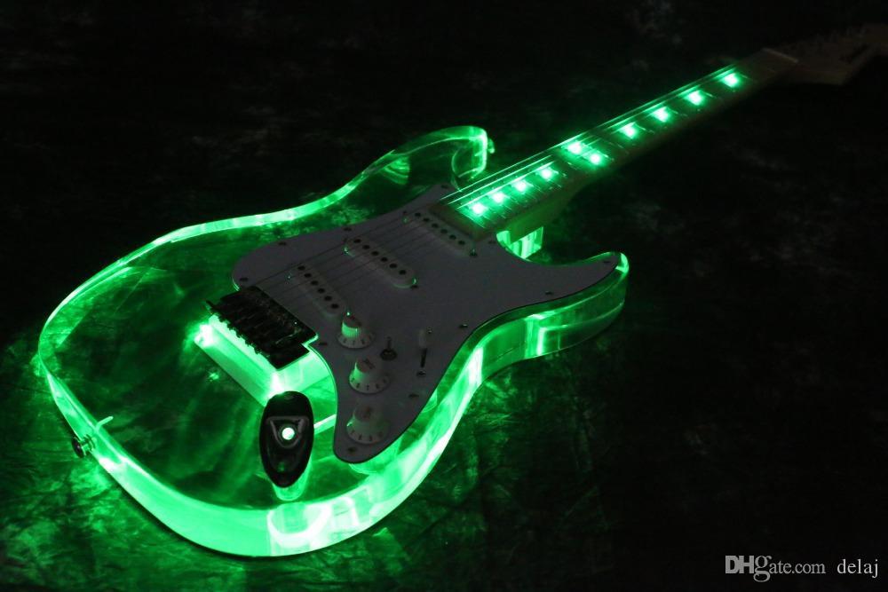 Envío libre newArrivel guitarra eléctrica rosada LED guitarra acrílica de color verde buena quialty más color puede elegir