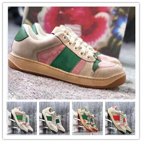 2020 Scarpe stagione New modo delle donne e degli uomini del cuoio di formato Lace Up Platform 35-45 Sole scarpe da ginnastica bianche nere Pattini casuali 34-44 0b38