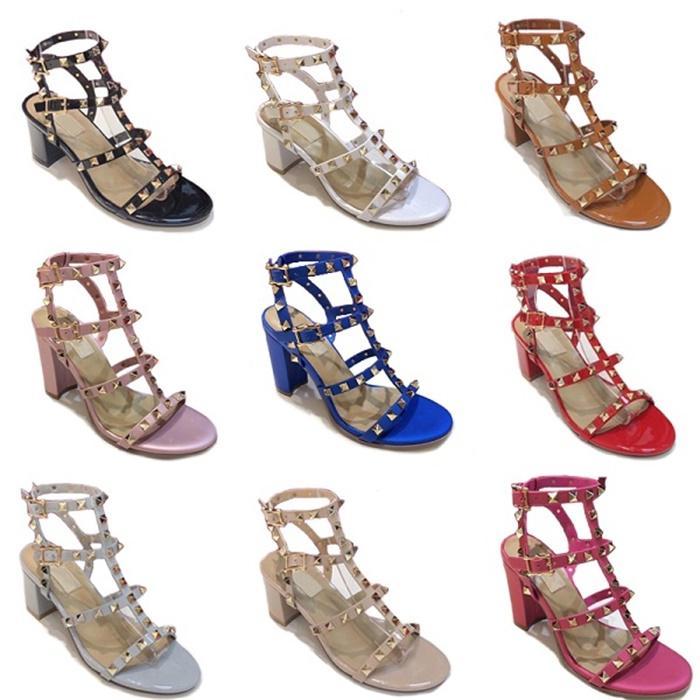 여성 샌들 리벳 발목 스트랩 하이힐 샌들 새로운 하이힐 고무 상자와 바닥 조절 스트랩 두꺼운 신발 9.5CM의 6.5cm
