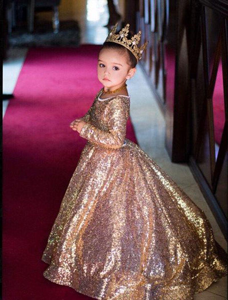 Compre Vestido Dorado Brillante Para Niña De Las Flores Lentejuelas Manga Larga Cuello Joya Vestido Para Niñas Vestido De Cumpleaños De Gatsby