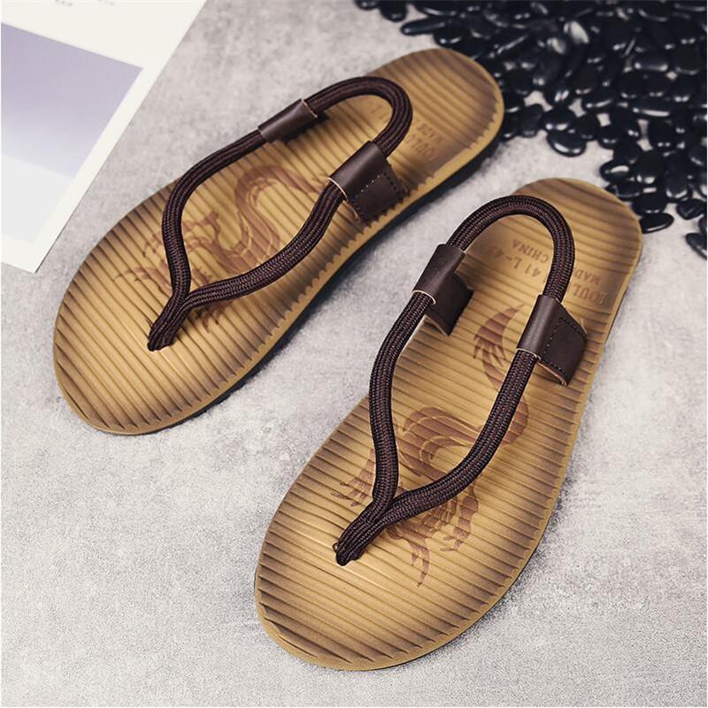 Сандалии мужские дракон шаблон новая летняя одежда пляжная обувь личность нескользящая студент клип ноги сандалии и тапочки