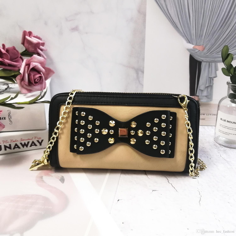 Fashion Wallet Holder on Chain Woman Credit Card Package Bow Panelled Rivet Shoulder Clutch Bag Multi-bit Preppy Ladies Long PurseVKP1431