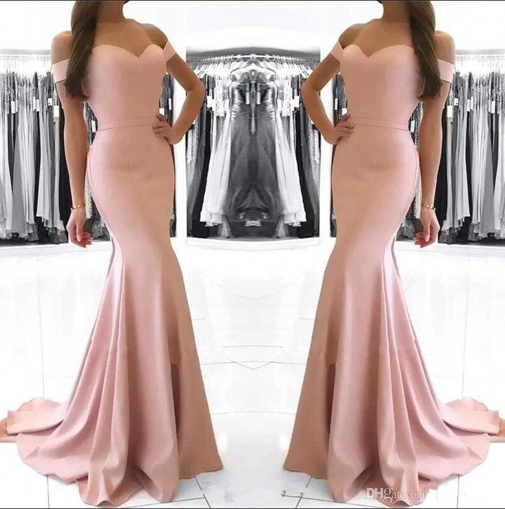 Dusty Rose pas cher Encolure sirène Robes de bal Vintage gaine robe de soirée longue demoiselle d'honneur en satin robe formelle BM0983