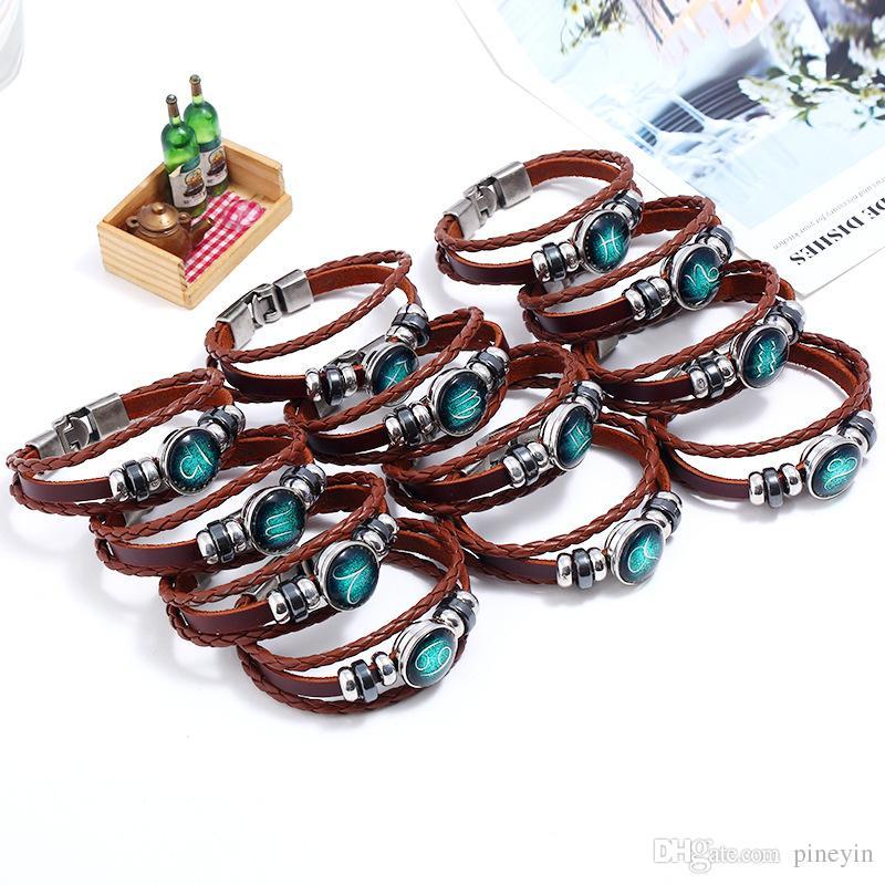 New Classic Twelve constellation charm horoscope bracelets leather bracelet punk jewelry snap button changable model no. NE942-1
