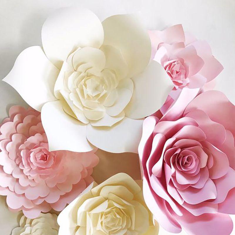 JOY-ENLIFE 웨딩 장식 2 개 20cm 3D 종이 꽃 어린이 생일 파티 백 드롭 장식 처녀 파티 홈 룸 장식 용품