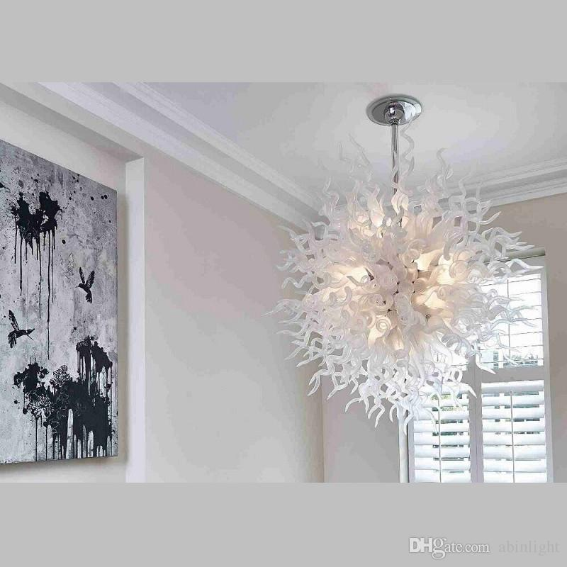 Large White Chandelier Pretty Lighting Blown Glass Chandelier Romantic Glass Pendant Lamp Shade Murano Glass Chandelier Light