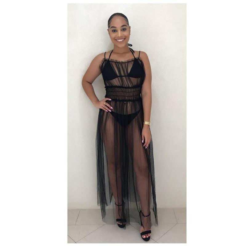 Sexy Frauen 3PCS Badeanzug-Vertuschungen Black Mesh durchschauen Ärmel Maxi Kleid-Strand-Abdeckung U + Push-Up-BH Tanga Bikini Set