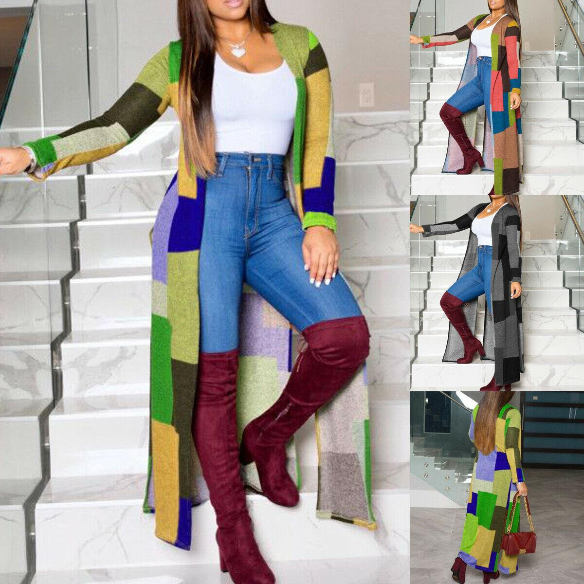 Heißen Verkauf-neue Art und Weise der Frauen-Damen-lange Hülsen-Plaid-Cardigan Lange Trenchcoat Windjacke Overcoat