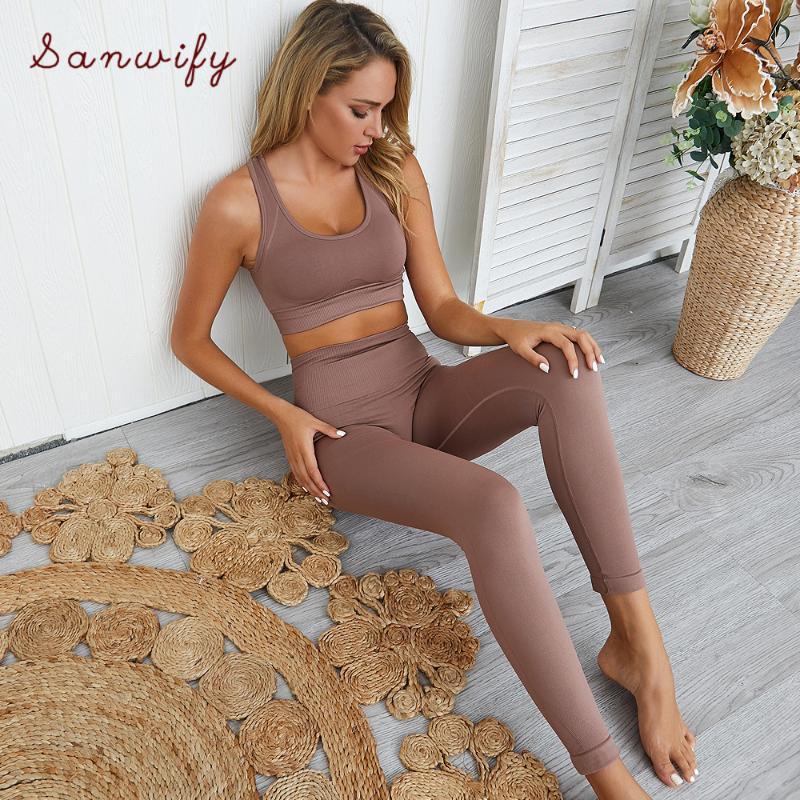 Yoga Outfits Fitnessstudio 2 Stück Set Workout Kleidung Für Frauen Solide Farbe Fitness Leggings Sportbekleidung Frau Wear Sport BH und Hosen
