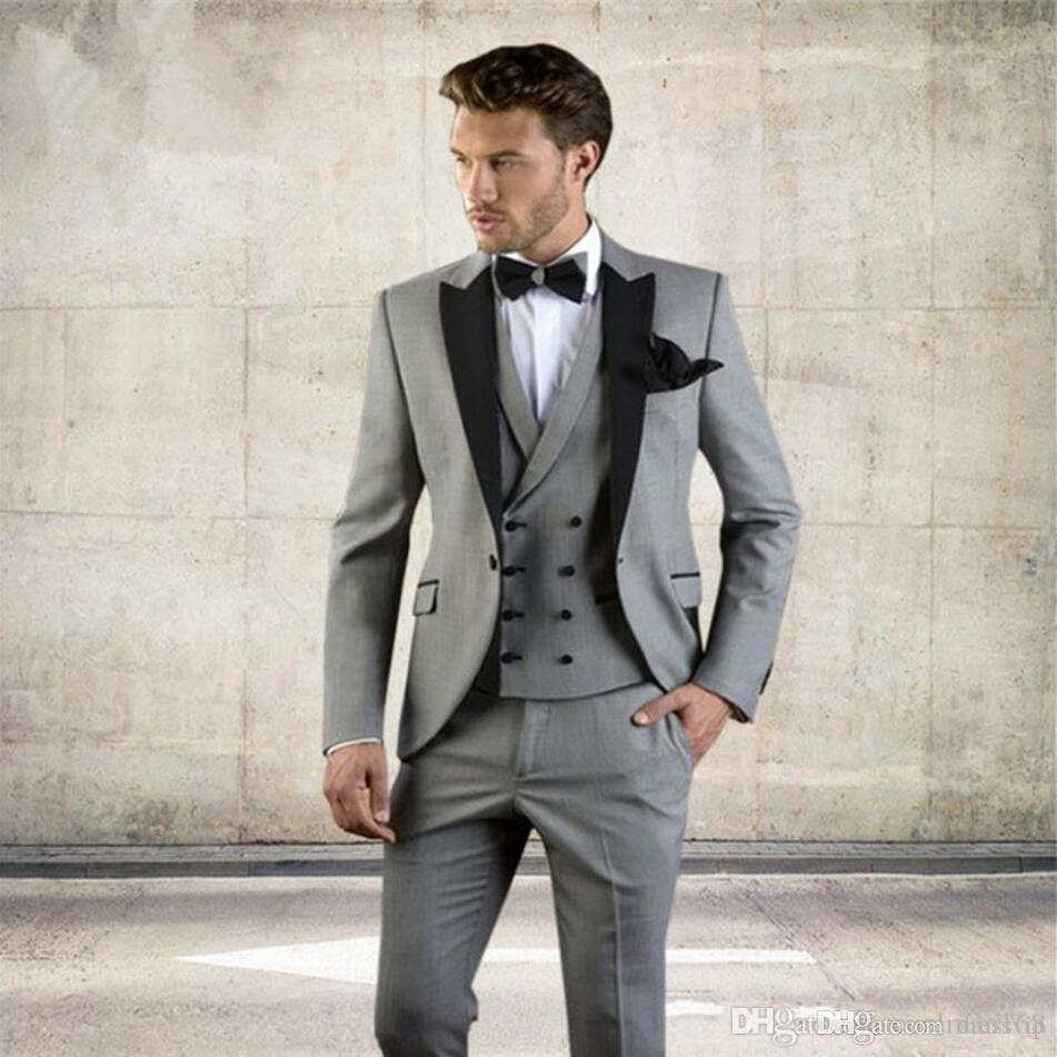 Abito Matrimonio Uomo Grigio : Acquista smoking da sposo grigio da sposa con scialle nero vestito