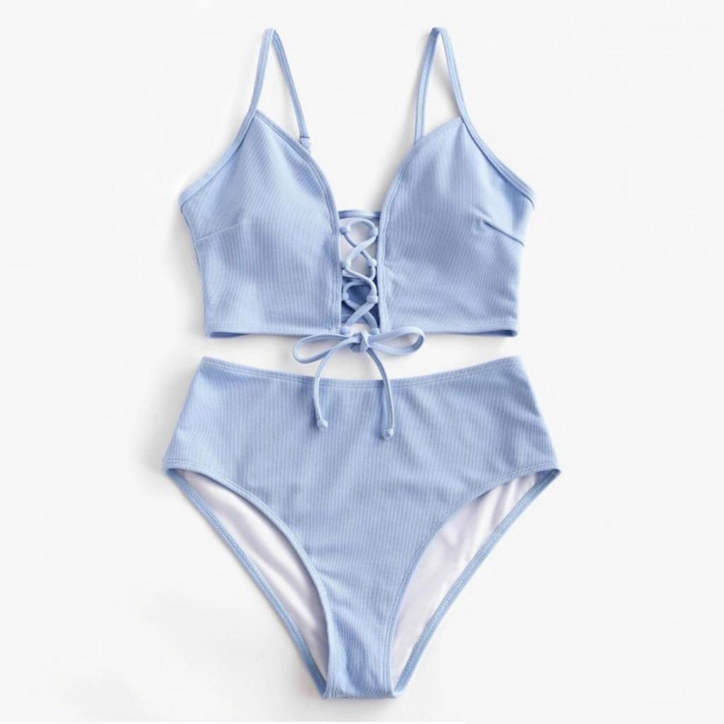 2020 venta caliente Sujetador correas de cintura alta del traje de baño del traje de baño del vendaje de la Mujer playa de las mujeres Ropa Bikinis sólido empuje hacia arriba del bikini de color