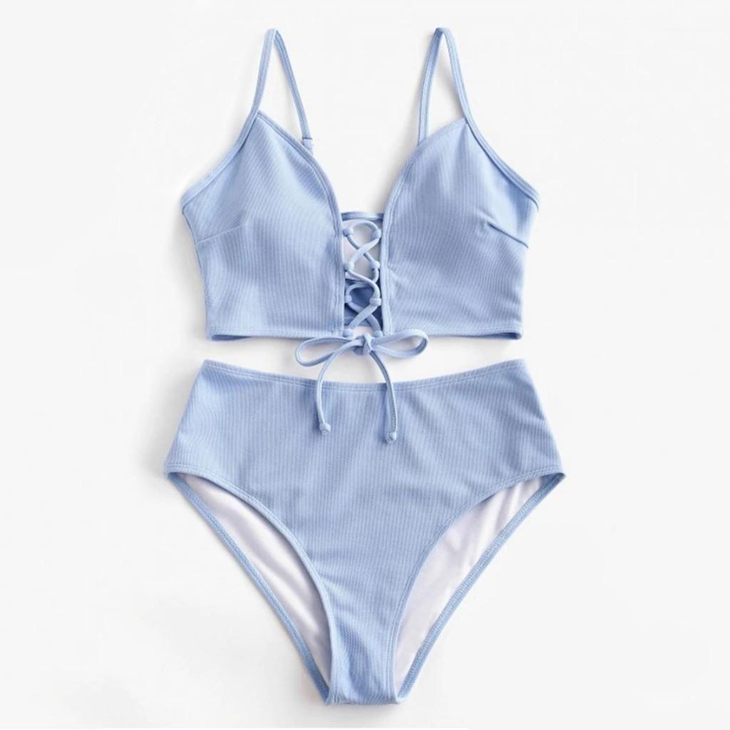 2020 Sıcak Satış Yastıklı Sütyen sapanlar Yüksek Bel Mayo Bandaj Kadın Mayo Kadınlar Plajı Giyim bikiniler Katı Renk Push Up Bikini