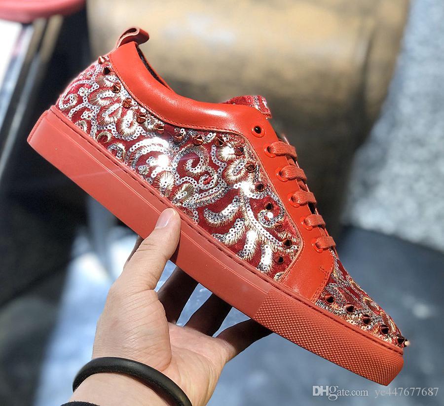 Nuovo di alta qualità di lusso mens scarpe casual, oro cristallo e strass argento lowtop rosso scarpe da ginnastica di fondo, mens alla moda comoda fl qw