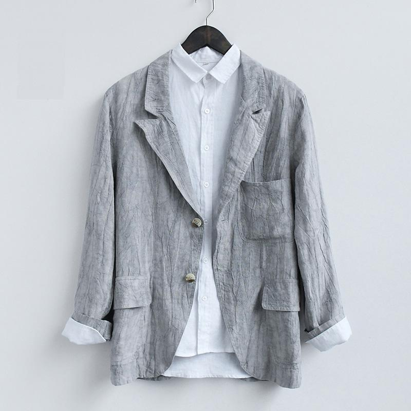 2020 Spring Casual Blazers hommes gris Costumes Mode Manteaux Une poche 100% lin breasted pur Slim Fit Y2372