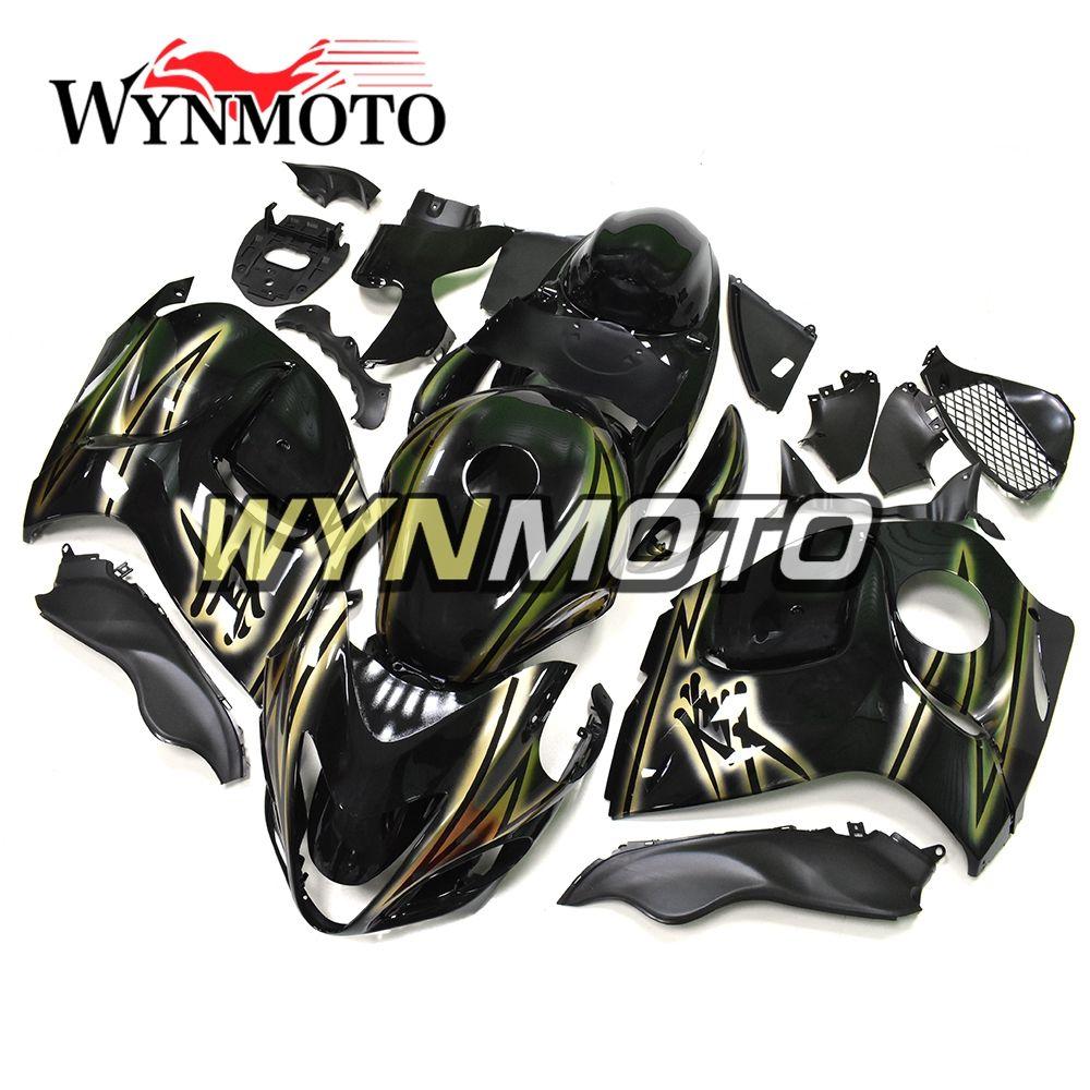 Motorcycle Fairings Hayabusa For Suzuki GSXR1300 2008 2009 2010 2011 2012 2013 2014 2015 2016 Stylish Gold Strips Black Cover Hulls Full Set