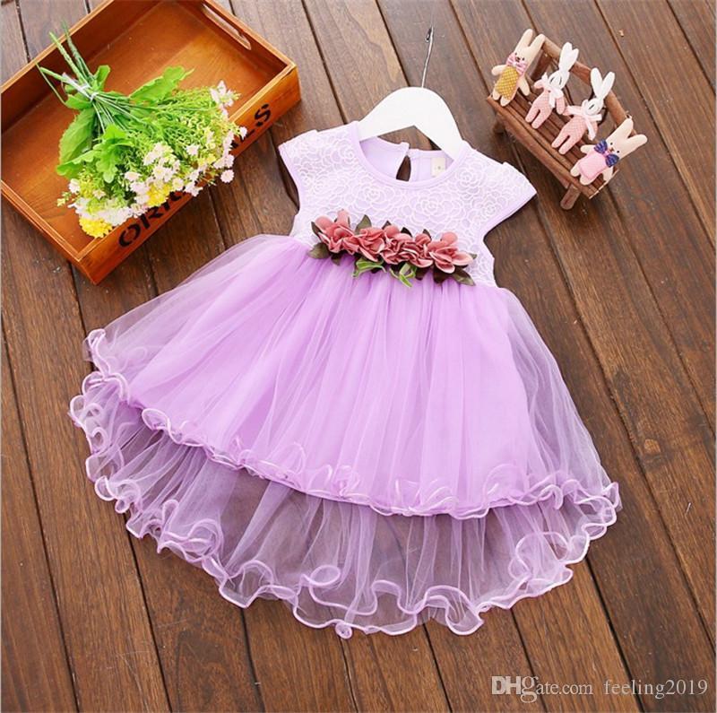 Детские платья 2018 лето новой ребёнки Одежда Lace Bow Tie Mini A-Line Детских платья принцессы Симпатичного Хлопок Дети Одежда